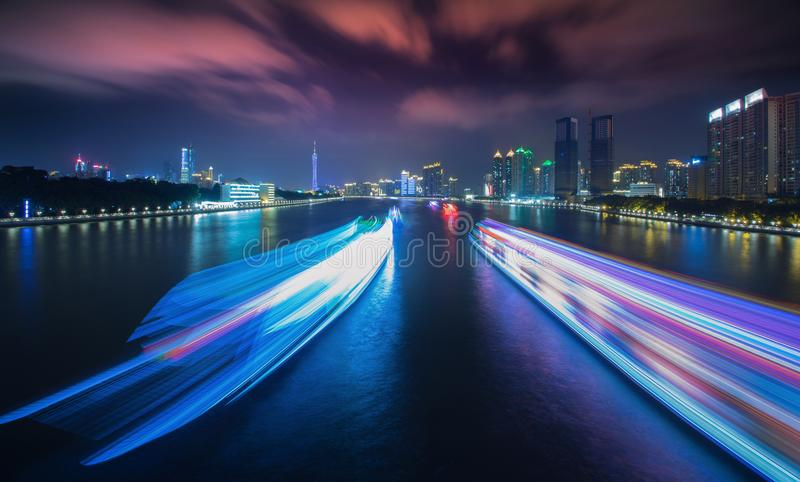 Pearl River night scene 1 royalty free stock photography