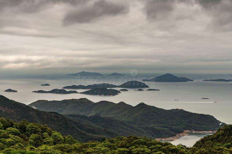Pearl River Mündung und Südchinesisches Meer gesehen von Tian Tan Buddha, Hong Kong China stockbilder