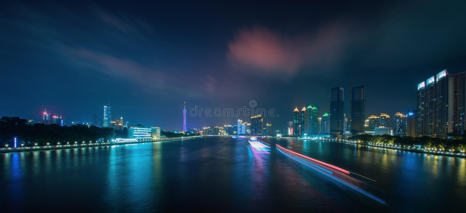 The Pearl River night scene 3 royalty free stock photo