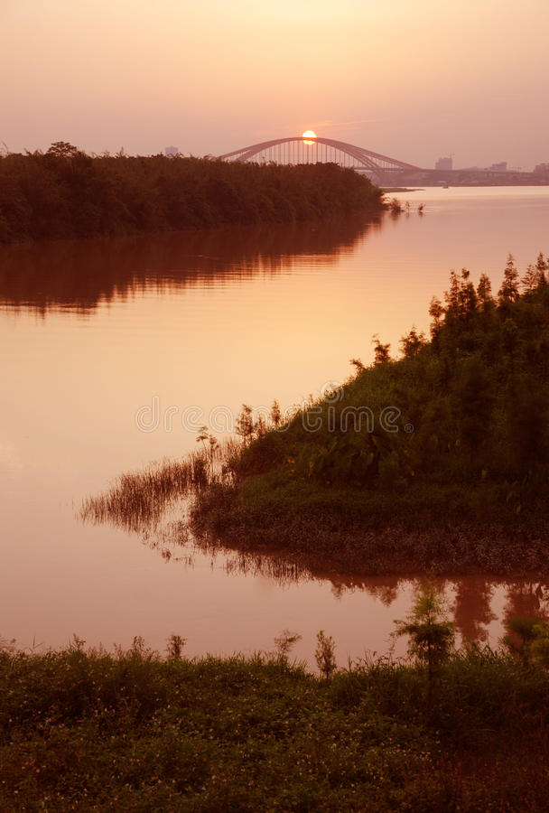 Pearl River sunset royalty free stock photo
