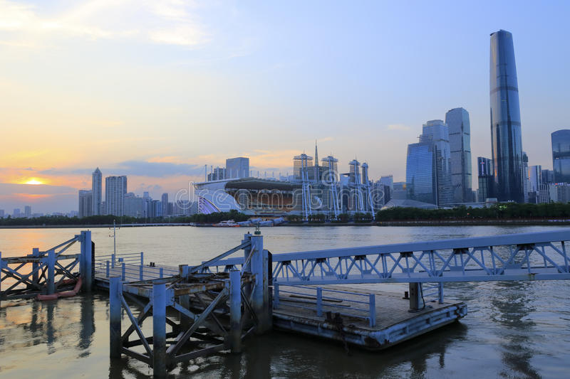 Pearl river sunset landscape at guangzhou city stock photos