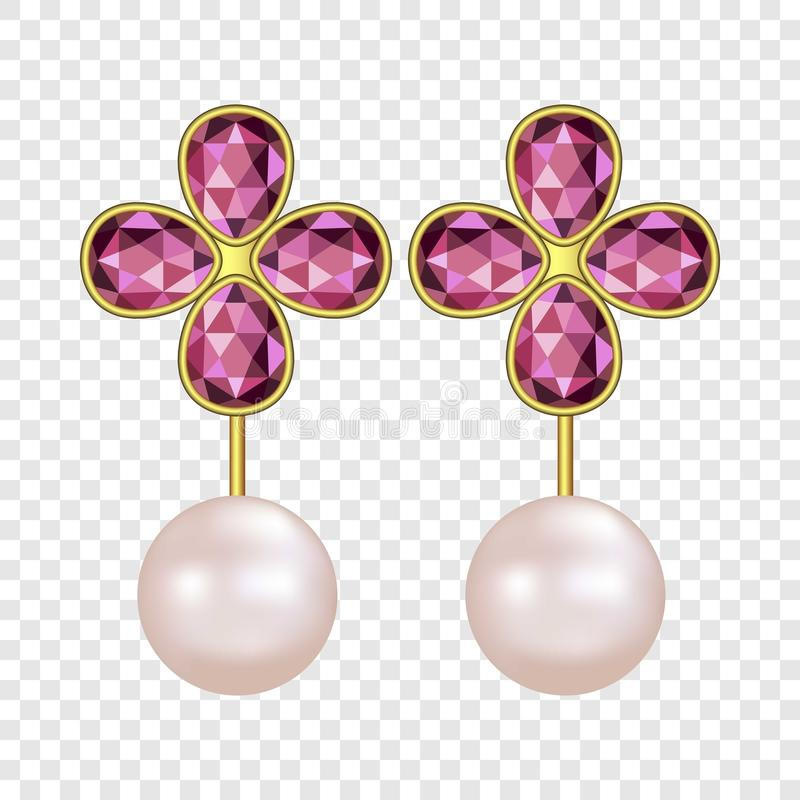 Pearl ruby earrings mockup, realistic style. Pearl ruby earrings mockup. Realistic illustration of pearl ruby earrings mockup for on transparent background royalty free illustration