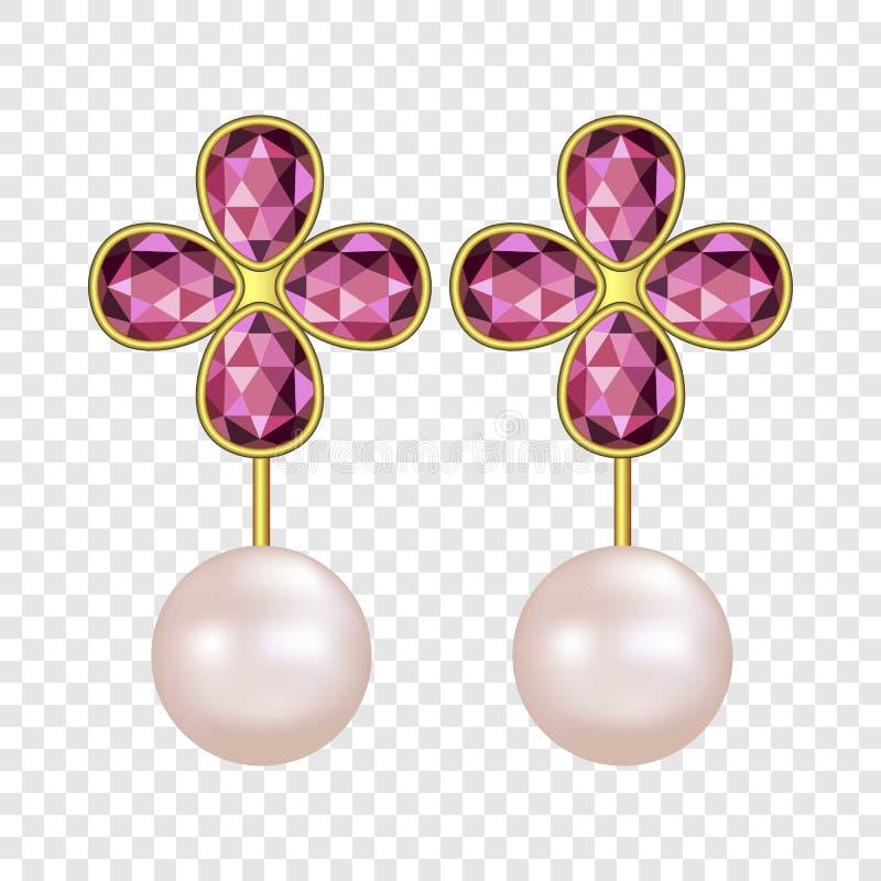 Pearl ruby earrings mockup, realistic style. Pearl ruby earrings mockup. Realistic illustration of pearl ruby earrings vector mockup for on transparent stock illustration