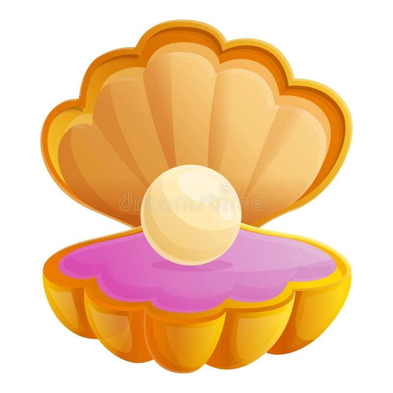 Pearl shell icon, cartoon style royalty free illustration
