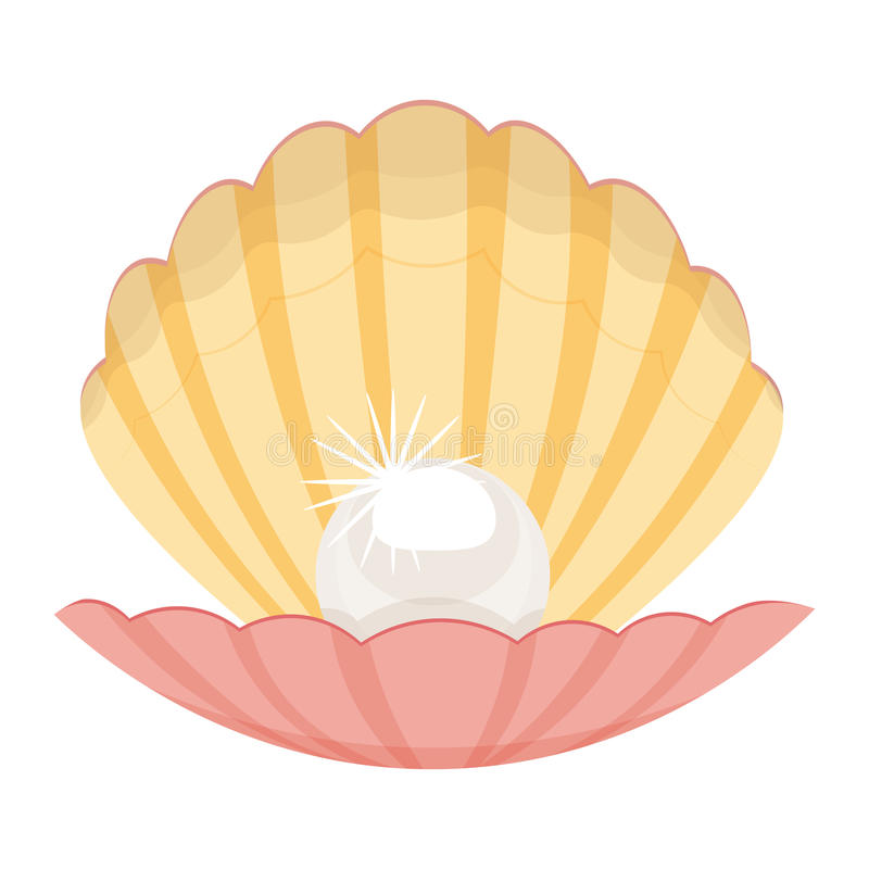 Pearl In A Shell Illustration Isolated On White Background ...