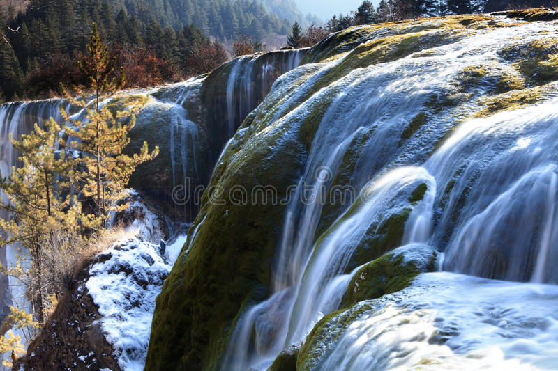 Download Pearl Shoal Waterfall Jiuzhai Valley Winter Royalty Free Stock Image - Image: 23047476