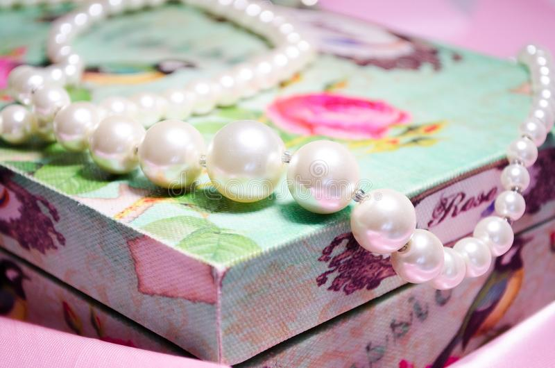 Pearl. Snow white pearl. Beads are made of pearls. Jewelery of pearls stock image