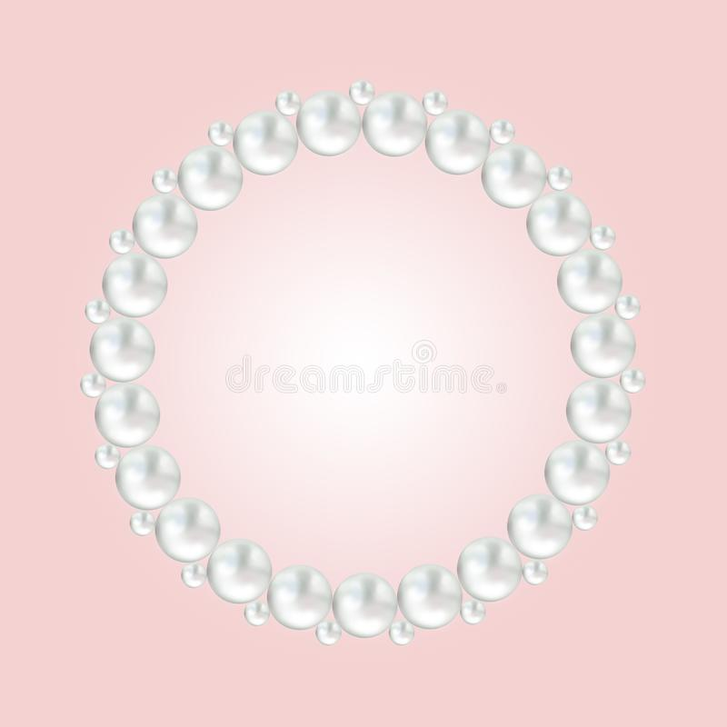 Pearl white bead round frame border on pink. Background with copy space for invitation royalty free illustration