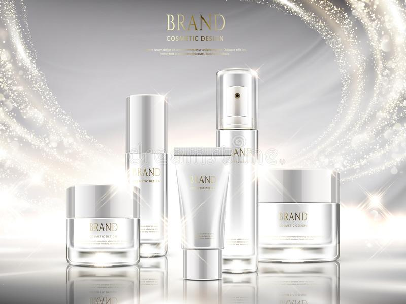 Pearl white skincare ads. Cosmetic package design set with glittering light effect in 3d illustration stock illustration