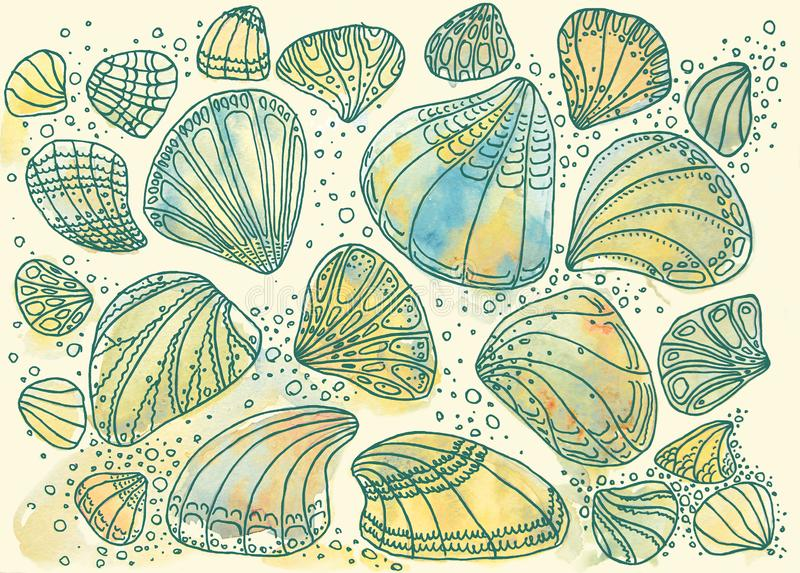 Pearlescent different seashells. Marine, blue, sunny, varied in shape. royalty free stock photos