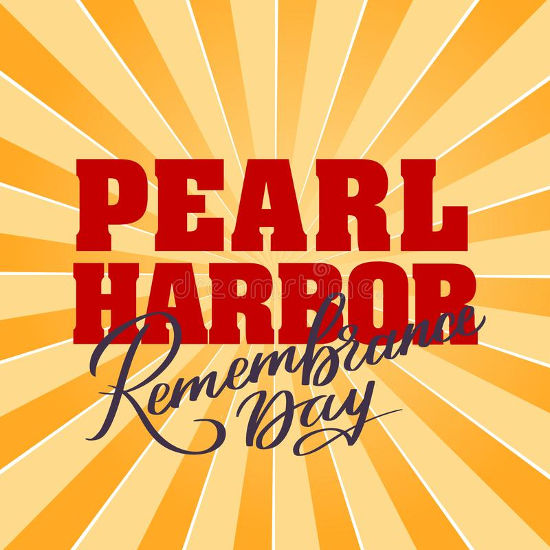 Pearl Harbor Remembrance day - hand-written text. Words, typography, calligraphy, lettering. Red vector writing on light color, for title, headline, emblem vector illustration