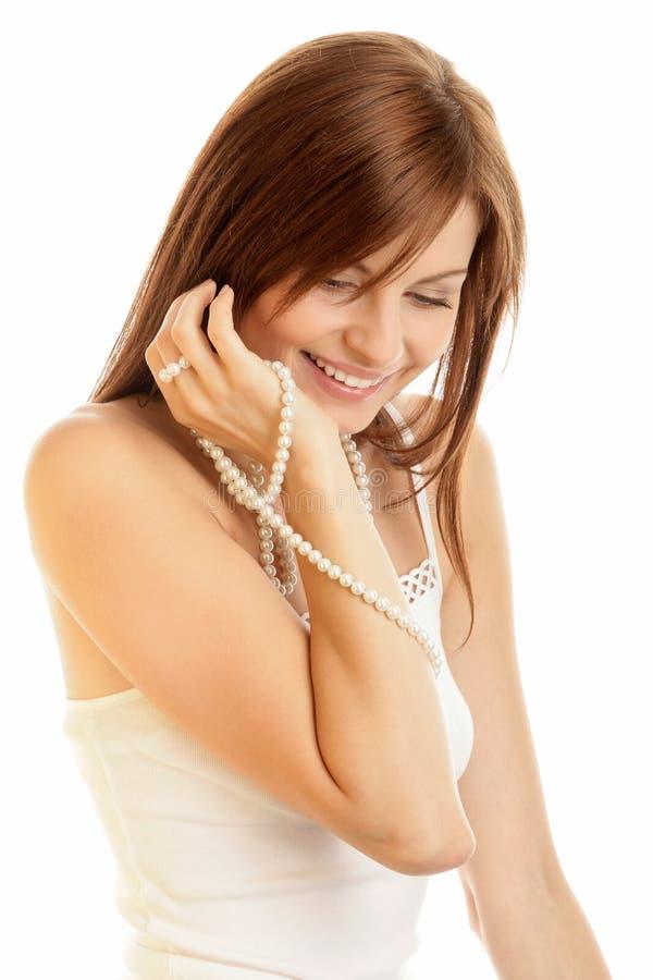 pearls женщина стоковое фото