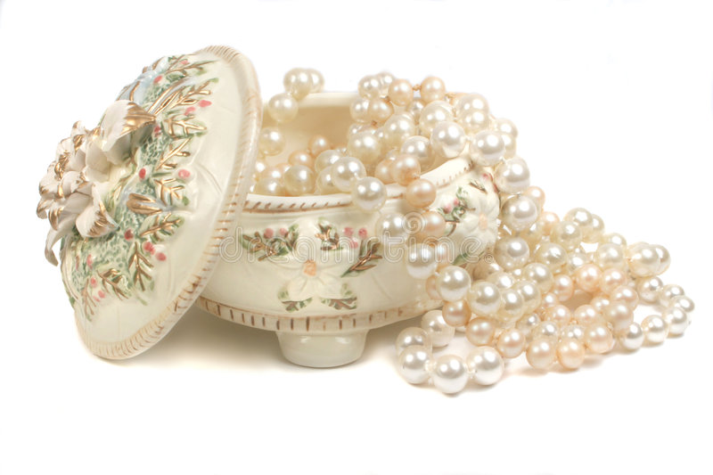 Pearls. Strings of pearls and trinket box stock photo