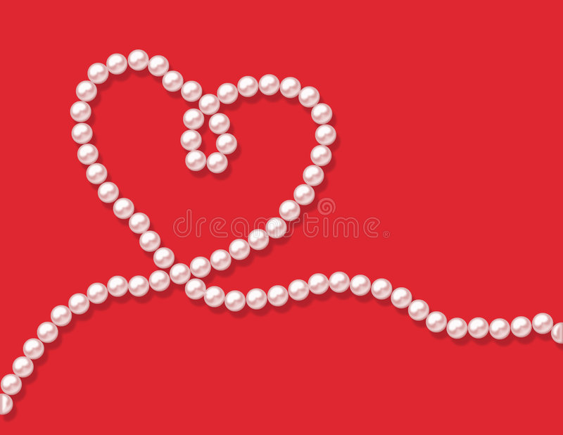 Pearls. A string of pearls in the shape of a heart - rendered stock photo