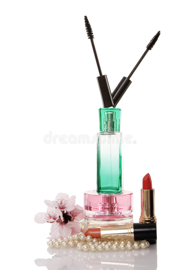 Pearls beads, cosmetics and parfume stock image