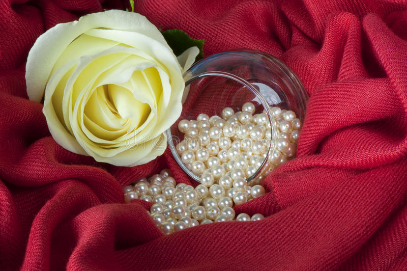Download Pearls  On A Colored Background Fabric Stock Photo - Image of stone, oyster: 25548232