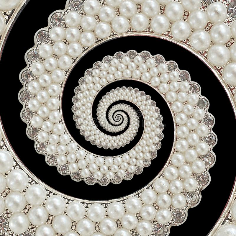 Pearls and diamonds jewels abstract spiral background pattern fractal. Pearls background, repetitive pattern. Abstract pearl backg. Round spiral pattern stock photo