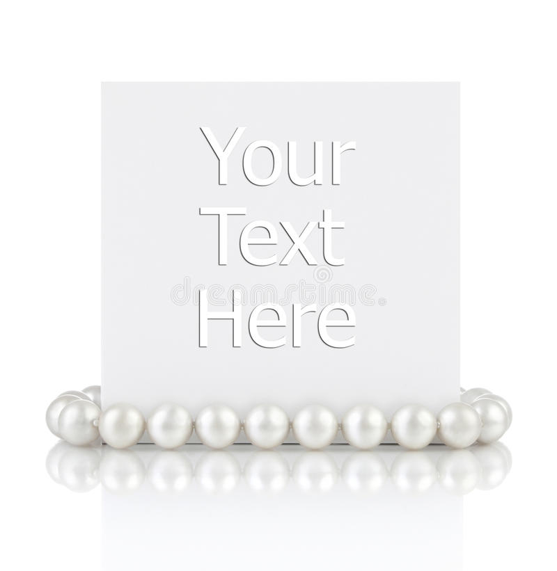 Pearls with empty gift card stock photo
