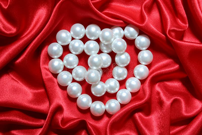 Pearls heart stock image