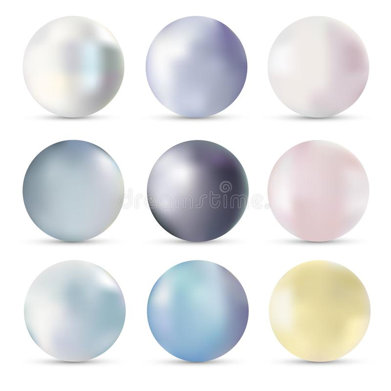 Pearls realistic set vector illustration isolated on white background with shadow. Precious stones, fine jewelry stock illustration