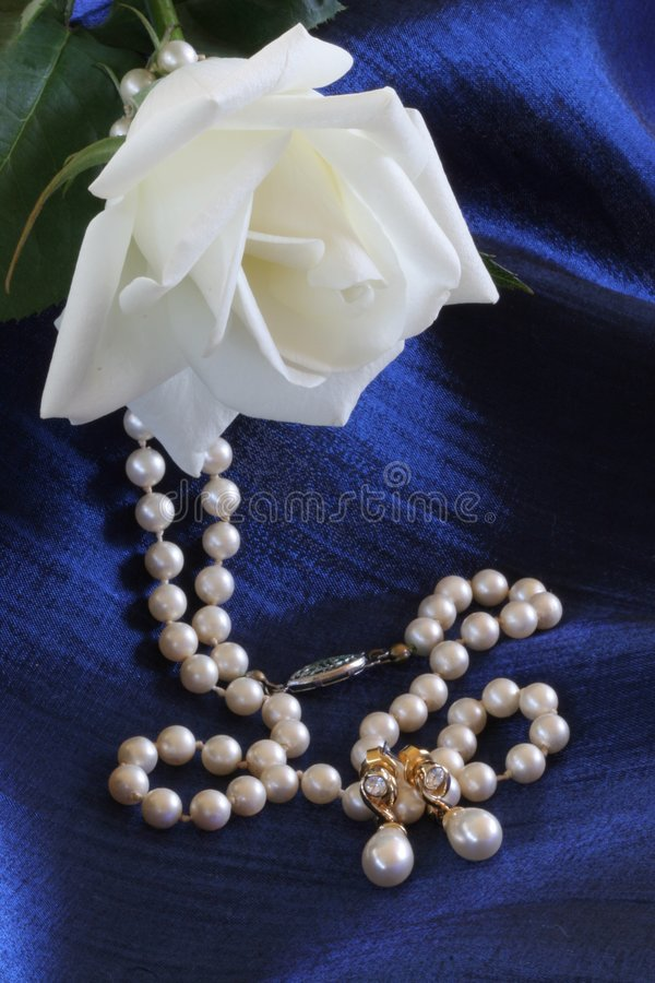Pearls and White Rose stock photography