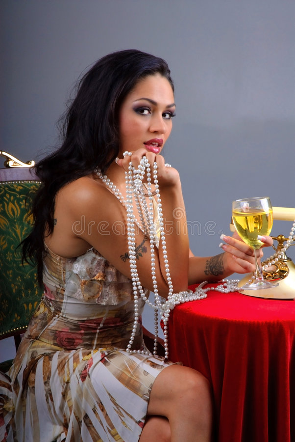 Download Pearls and Wine stock image. Image of holding, jewelry - 7302651