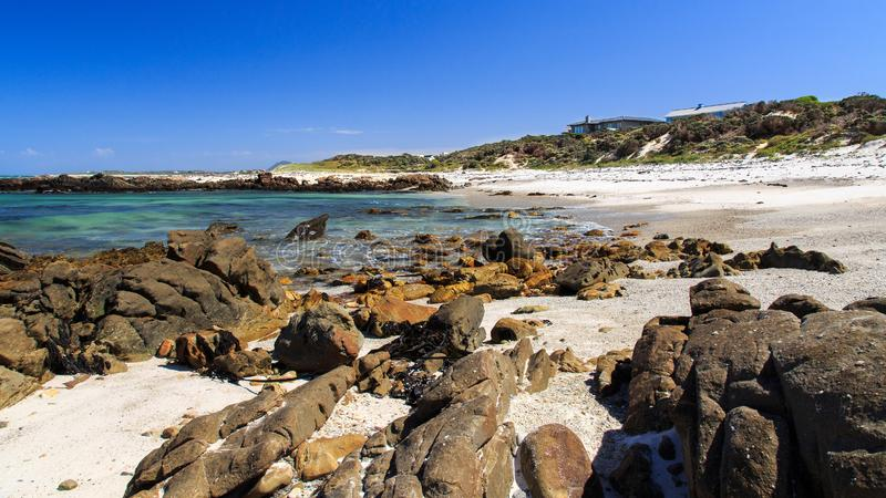 A rocky beach - Pearly beach - South Africa. Pearly Beach is a remote seaside hamlet in Overberg District Municipality in the Western Cape Province of South royalty free stock photography