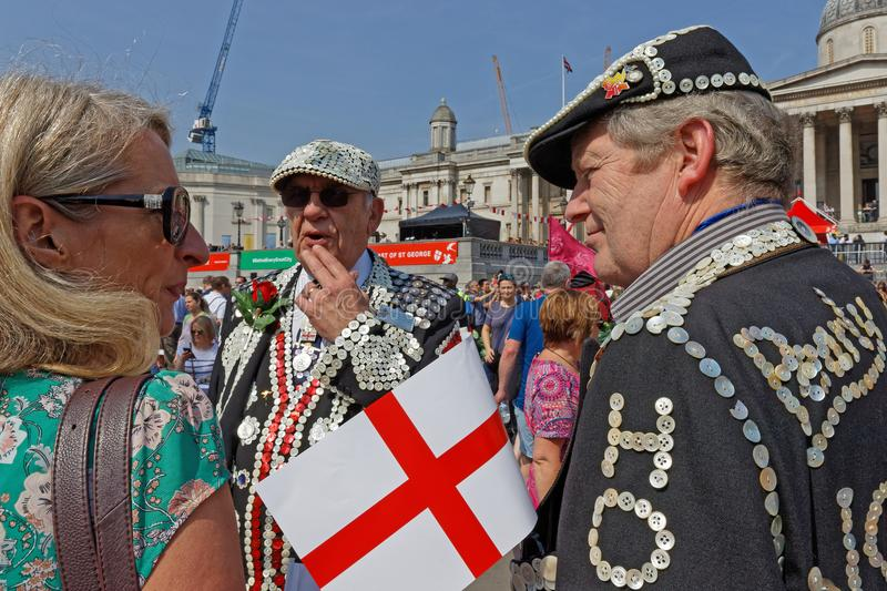 Pearly Kings at the Feast of St George. Pearly Kings and Queens at the Feast of St George in Trafalgar Square royalty free stock photography