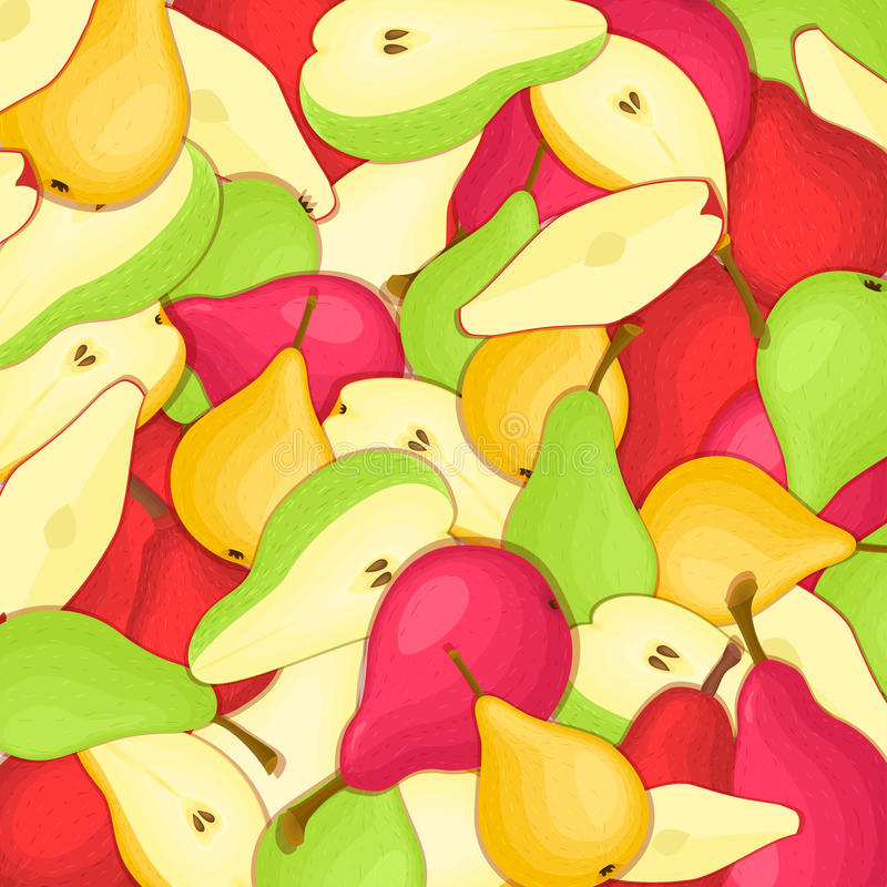 Pears background. Yellow red and green vector pattern pear fruits whole slice appetizing looking. Group of tasty royalty free illustration