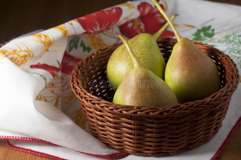 Download Pears in a Basket stock photo. Image of three, white - 15051140