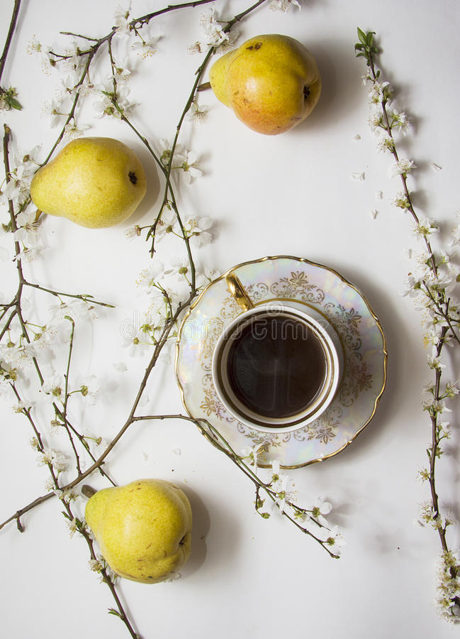 Free Pears Bloom With Cup Of Coffee Stock Photography - 55682632