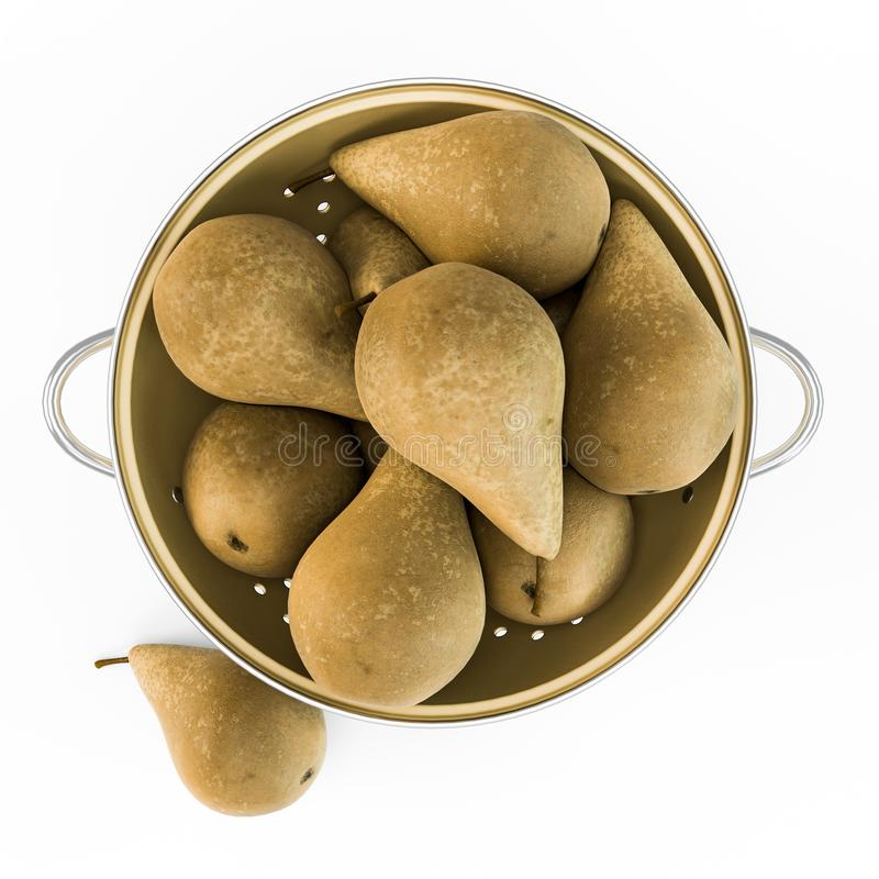 Pears in copper tray vector illustration