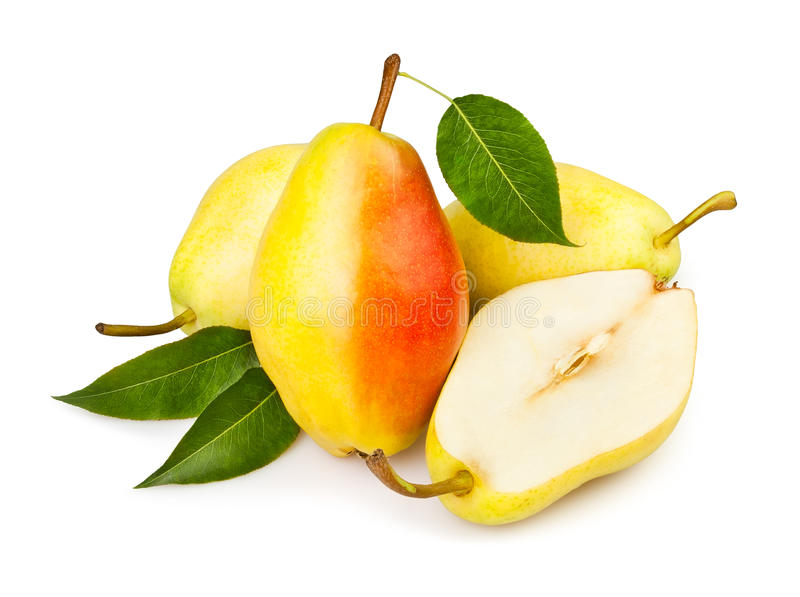 Pears Cut Leaf Royalty Free Stock Photography