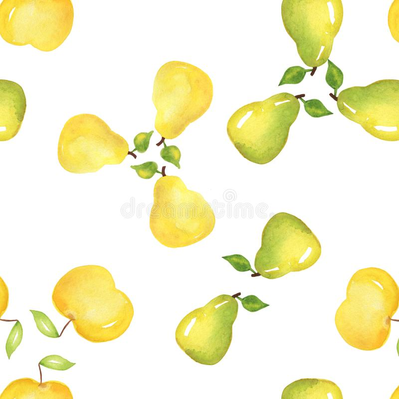 Pears. Food seamless pattern, painted watercolor manually stock photos