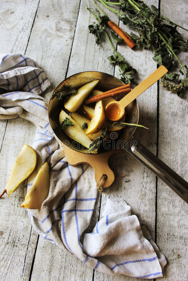 Pears and honey royalty free stock photography