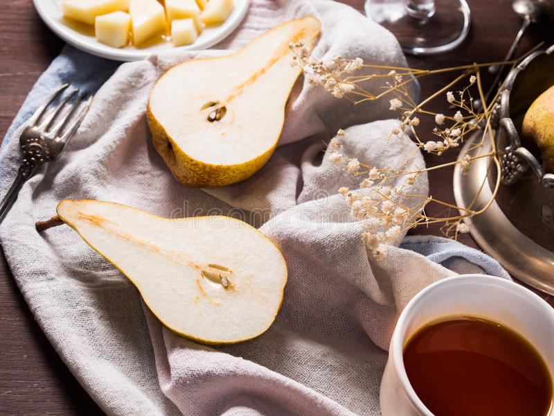 Pears on rustic background stock image