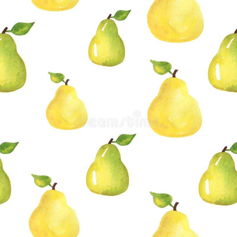 pears Sömlös modell för mat, målad vattenfärg manuellt stock illustrationer