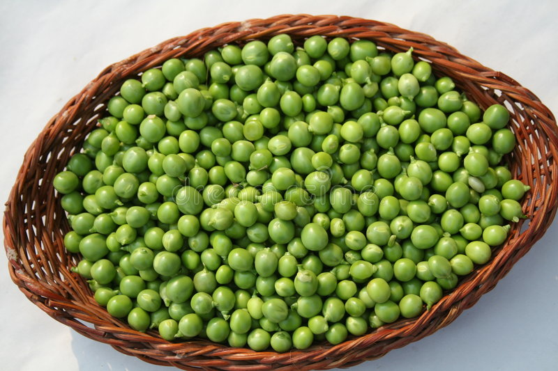 Peas basket stock photo