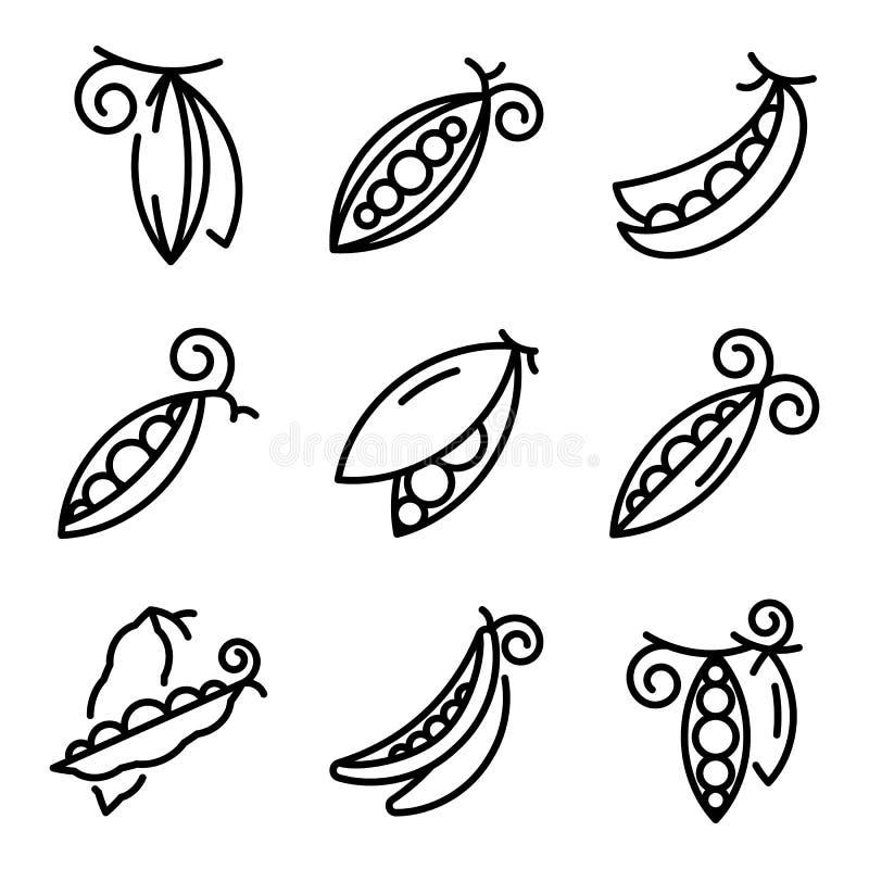 Peas icons set, outline style stock photos