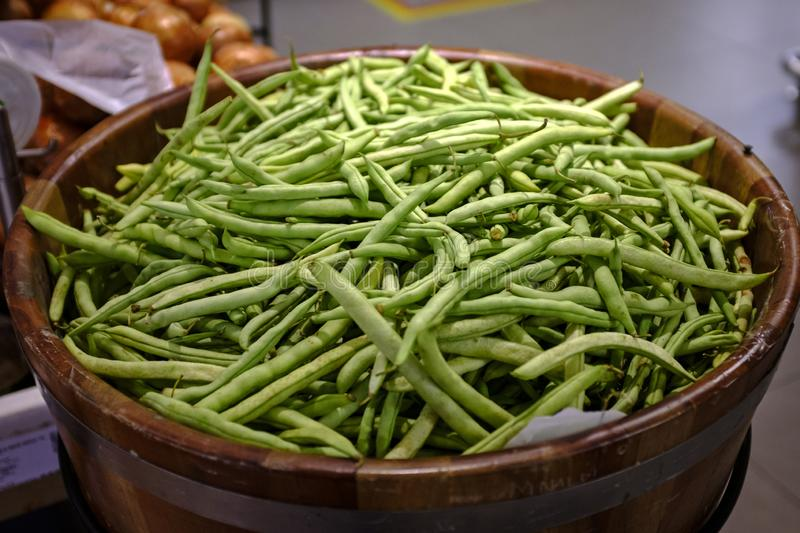 Peas for sale in the market stock photos
