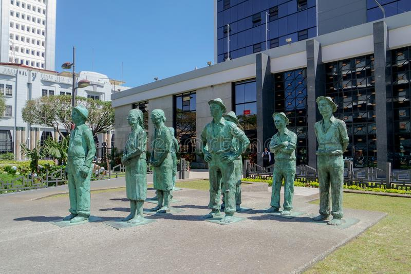 Peasant farmers statues in San Jose, Costa Rica. Eight peasant farmers statues in a square in the city of San Jose, in Costa Rica stock images