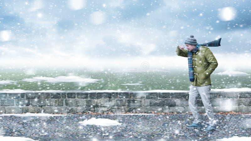 Peatón en una nevada fotos de archivo