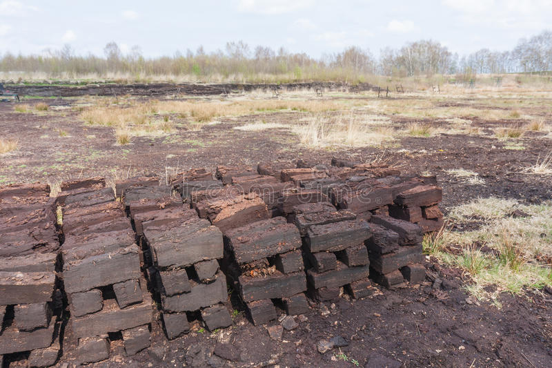 Peat digging in Dutch rural landscape. Of Drenthe stock photo