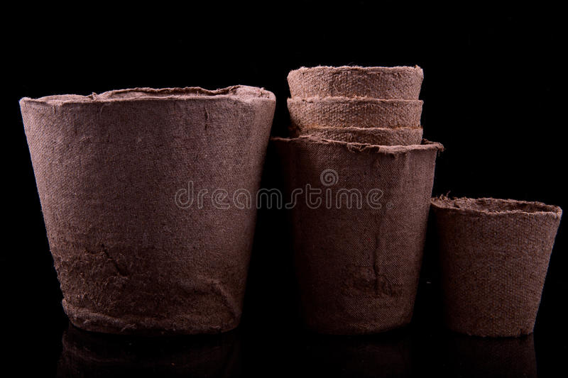 Peat pots for seedlings royalty free stock photos