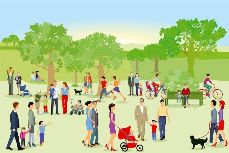 Peatones y familias que se divierten en parque libre illustration