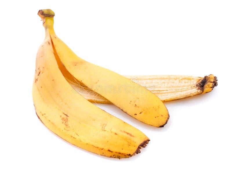 Peau de banane d'isolement sur la fin blanche de fond  image libre de droits