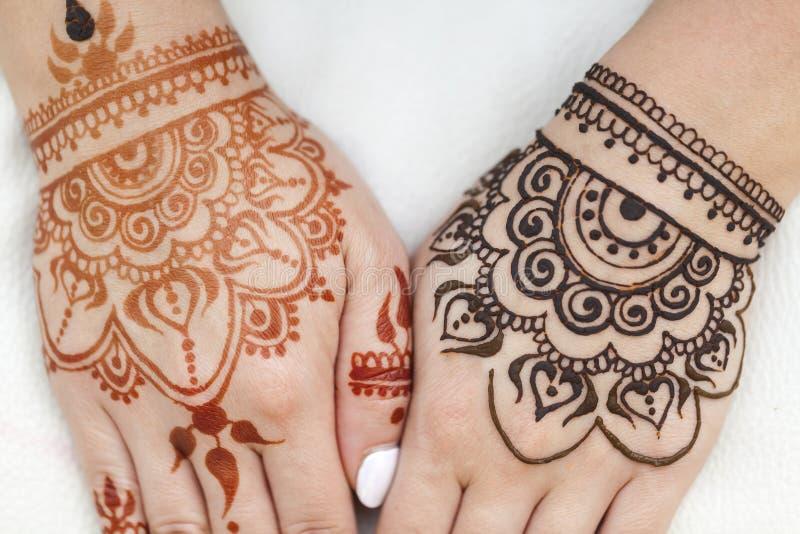 Peau de main de texture de mehendi de dessin de henné image stock