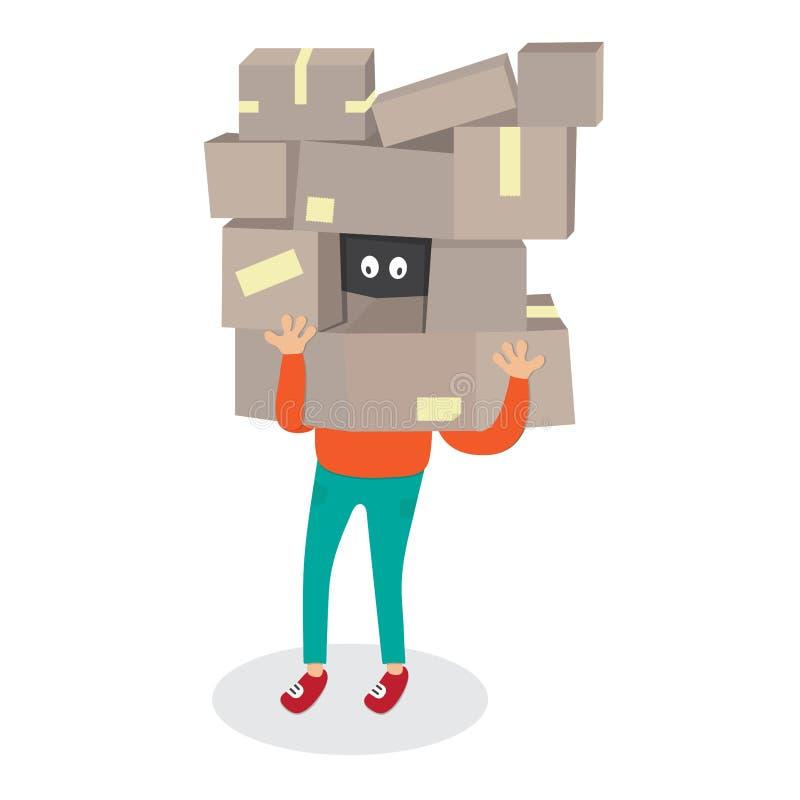 Peau de travailleur de la livraison par la boîte Illustration de transport de vecteur de bande dessinée de boîtes de Man de messa illustration de vecteur