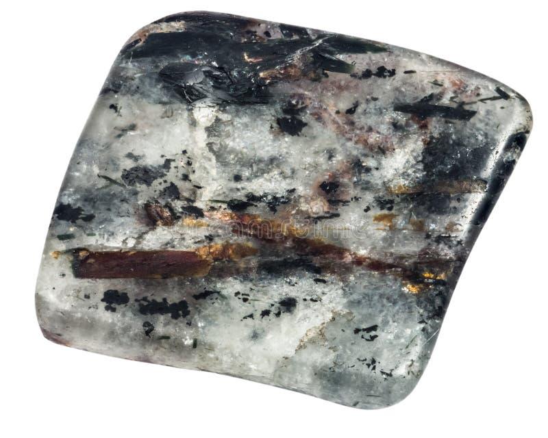 Pebble of astrophyllite macro isolated royalty free stock photo