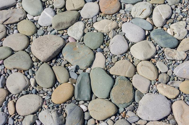 Pebble background. Small stones on the seashore.  stock images